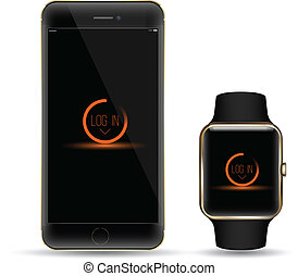 Vector smartphone with watch