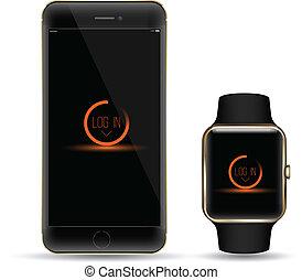 Vector smartphone with watch