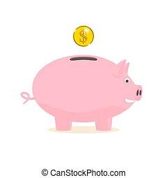 piggy bank with a gold coin
