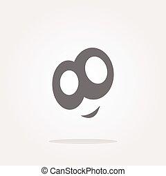 vector smiley face icon button, funny face for web