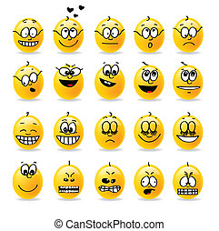 vector, smiley, humores, emociones