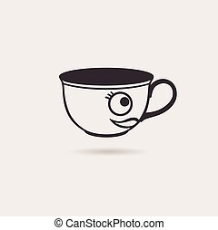 Vector smiling cartoon cup tea or coffee funny icon