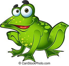 vector smiling green frog