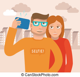 Vector smiling man and woman