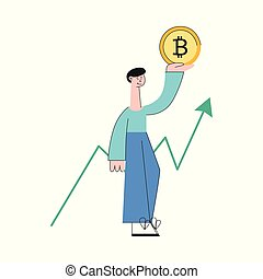 Vector smiling man bitcoin increase trend flat