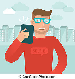 Vector smiling man - flat character taking selfie by mobile...