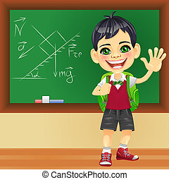 Vector smiling schoolboy near blackboard - smiling happy boy...