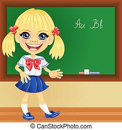 Vector smiling schoolgirl near blackboard - smiling happy ...