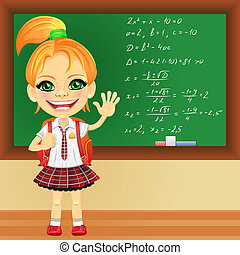 Vector smiling schoolgirl near blackboard - smiling happy...