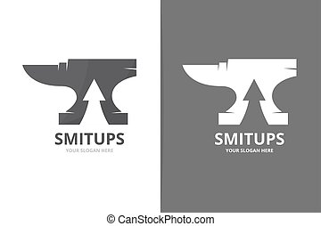 Vector smith and arrow up logo combination. Blacksmith and...