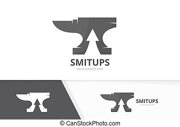 Vector smith and arrow up logo combination. Blacksmith and...