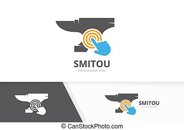 Vector smith and click logo combination. Blacksmith and...