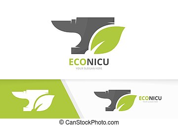 Vector smith and leaf logo combination. Blacksmith and eco...