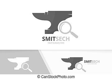 Vector smith and loupe logo combination. Blacksmith and...