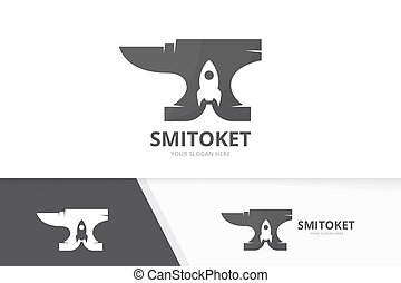 Vector smith and rocket logo combination. Blacksmith and...