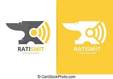 Vector smith and wifi logo combination. Blacksmith and...