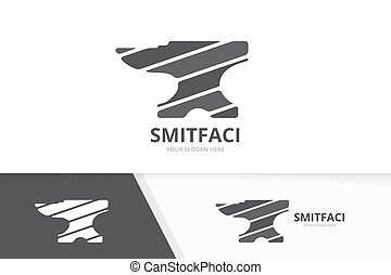Vector smith logo combination. Blacksmith symbol or icon. Unique metal logotype design template.