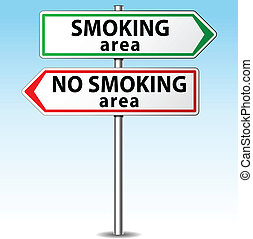 Vector smoking and no smoking area directions concept