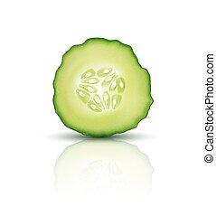 vector, snede, sappig, komkommer, vrijstaand, op wit, achtergrond., realistisch, 3d, illustration., element, voor, moderne, design.
