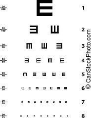 vector, snellen, prueba de ojo, gráfico