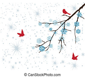 snow branch - vector snow branch with red birds