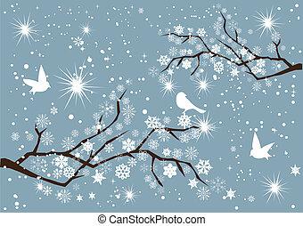 vector snow branches with birds
