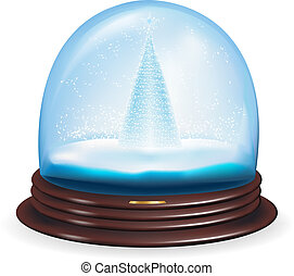 Vector snow globe with a christmas