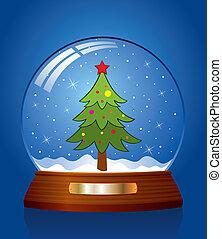 snow globe with green xmas tree