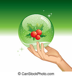 Vector snow globe with Holly berries