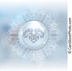 Vector snow globe with zodiac sign Aries