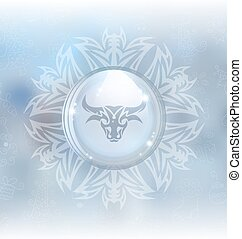 Vector snow globe with zodiac sign Taurus
