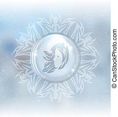 Vector snow globe with zodiac sign Virgo