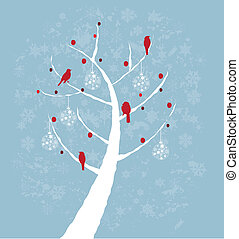 snow tree - vector snow tree with red birds