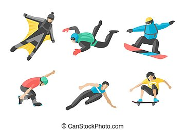 Vector snowboard jumping extreme athletes silhouettes illustration life skateboard set speed skydiver skateboarder skate wakeboard surfing flyboard