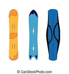 vector snowboarding equipment set flat isolated