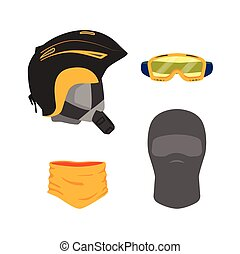 vector snowboarding equipment set flat isolated