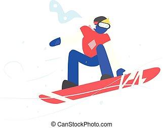 vector, snowboarding., invierno, ilustración, hombre