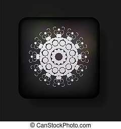 Vector snowflake icon on black background. Eps 10