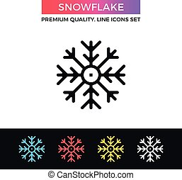 Vector snowflake icon. Thin line icon