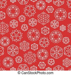 Vector snowflake winter Christmas seamless red pattern