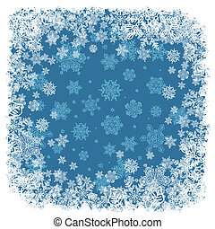 vector, snowflakes, blue., frame, achtergrond, eps8