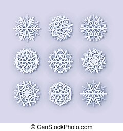Vector snowflakes collection. Paper Snowflake shapes. Symmetric Papercut snow flake silhouette isolated on white. Winter weather theme decoration icons. Digitally generated Christmas, Noel print