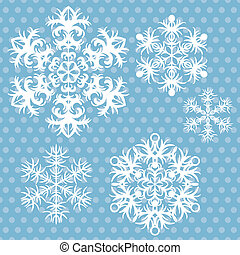Vector snowflakes set on blue retro background.