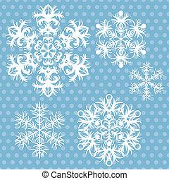 Vector snowflakes set on blue retro background.
