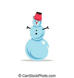 Vector Snowman Cartoon Illustration.