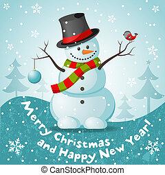 Vector snowman. EPS 10 vector illustration for Christmas...