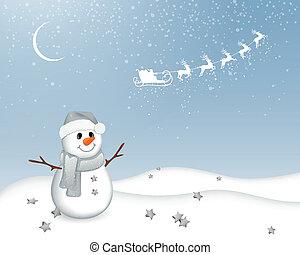 Vector Snowman in a Winter Landscape