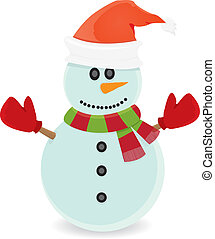 Vector snowman isolated on white