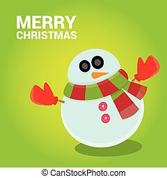 Vector snowman on blue sky background with stars.