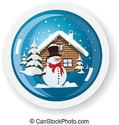 Vector snowman sticker